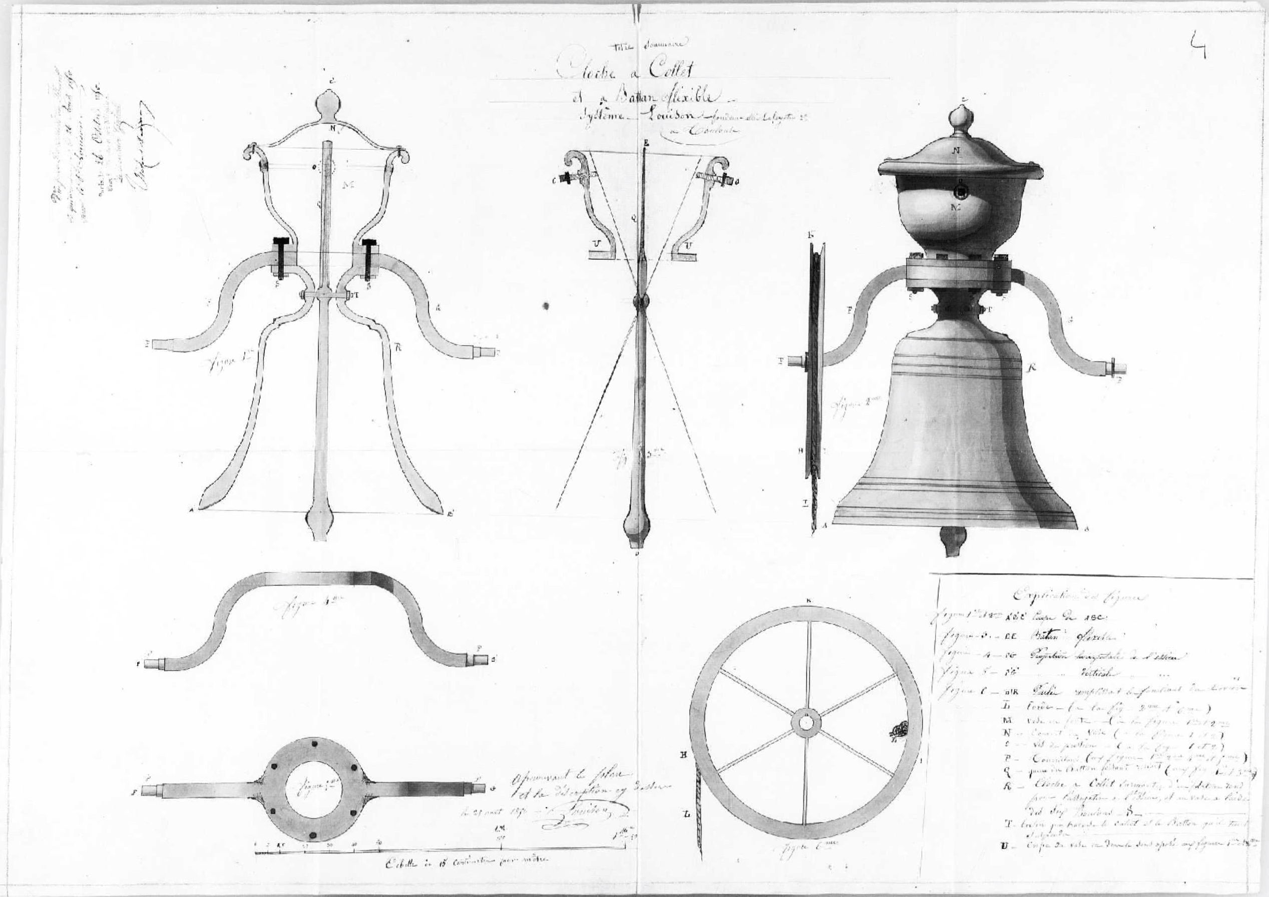 Brevet Louison 1850 : Cloche à collet et à battant flexible